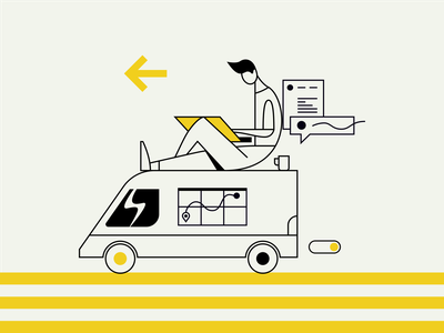 Mobile Office arrow coffee interface message yellow car map computer person van