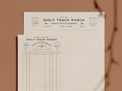 Wolf Track Ranch Stationary scroll saddle land ranch stationary billhead letterhead