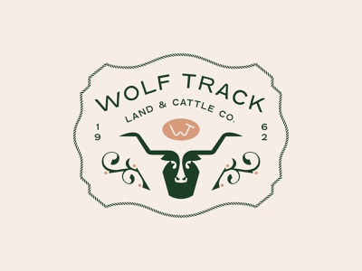 Wolf Track Ranch green brand patch badge land longhorn