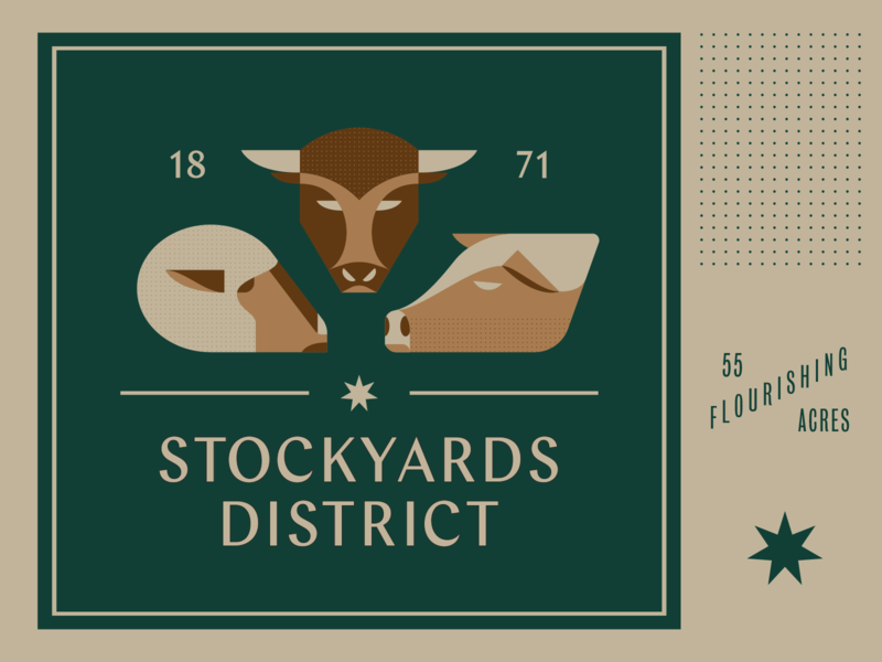 Stockyards District Sign icons logo brown green star chap pig sheep bull livestock badgedesign badge
