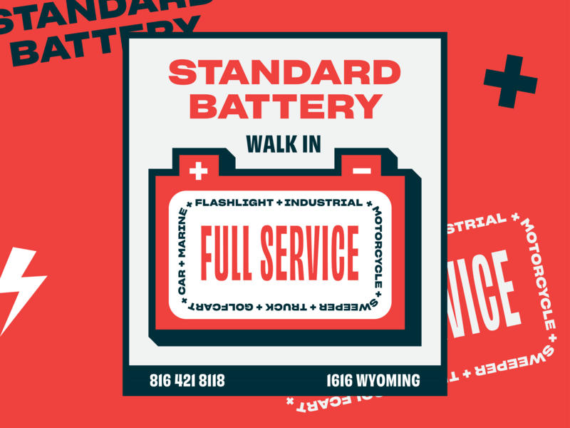Standard Battery Sign badge lightning signage red