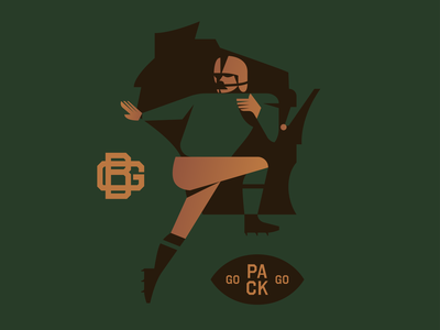 Go Pack Go vintage logo monogram wisconsin gold green football