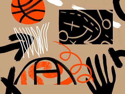 Basketball line basketball court arrow game procreate abstract orange basketball