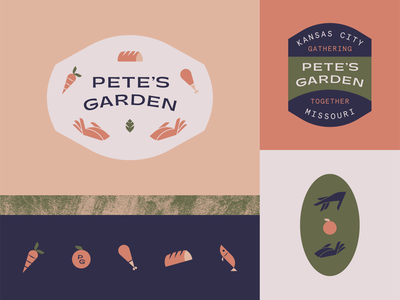 Pete's Garden icons bread chicken leaf hand fish food patch badge brand