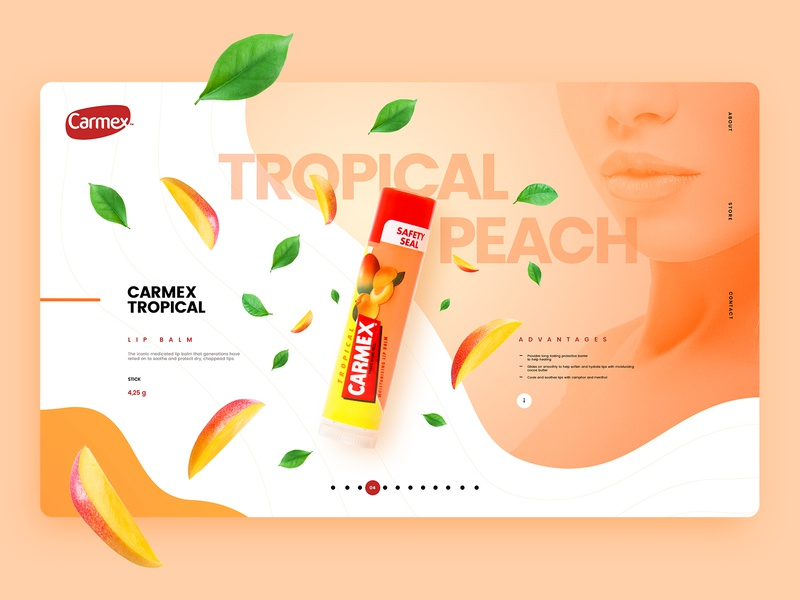 Carmex Lip Balm - Wbesite Concept care colorful slider liquid animation parallax experience userinterface carmex lip balm lips juicy webdesign