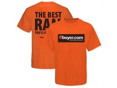 T-Shirt : Male clothing print. black white orange