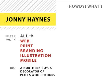 Portfolio ideas portfolio yellow white black typography typekit