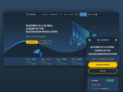 Bloomex Cryptocurrency exchange website ui  ux web screen web  mobile design mobile screens mobile screen mobile-design mobile site mobile-first mobile page mobile main screen main page bitcoin cryptocurrency main web-design web-page web ux ui