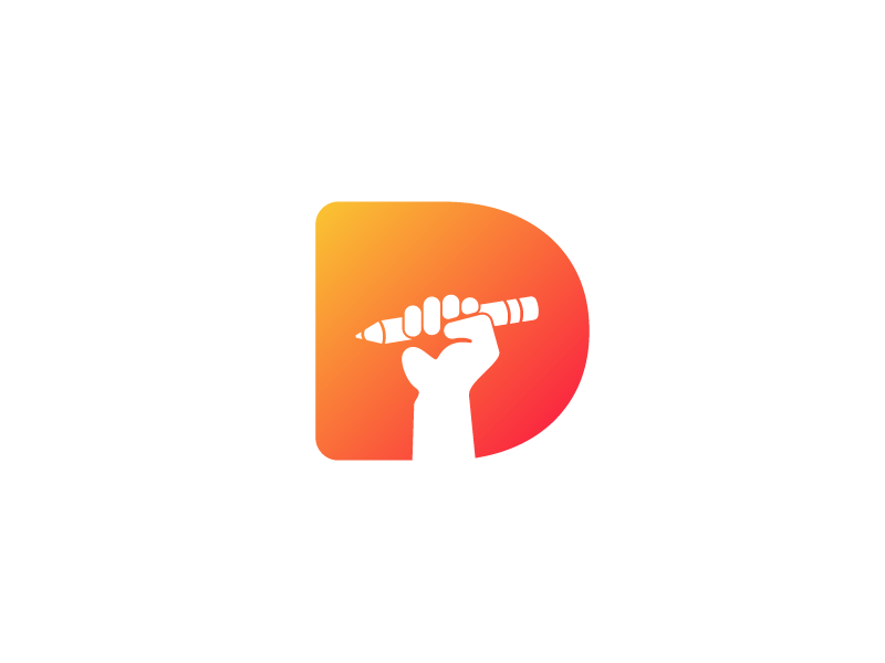 Logo Challenge | Daily Logo Challenge negative space fist hand pencil logotype logomark logo flat dailylogo dailylogochallenge letter