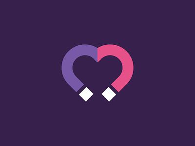 Logo Challenge   Dating App illustration love dailylogochallenge date magnet heart flat logotype logo
