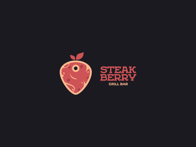 LOGO   STEAKBERRY bar strawberry berry steak typography illustration minimalism flat logotype logo