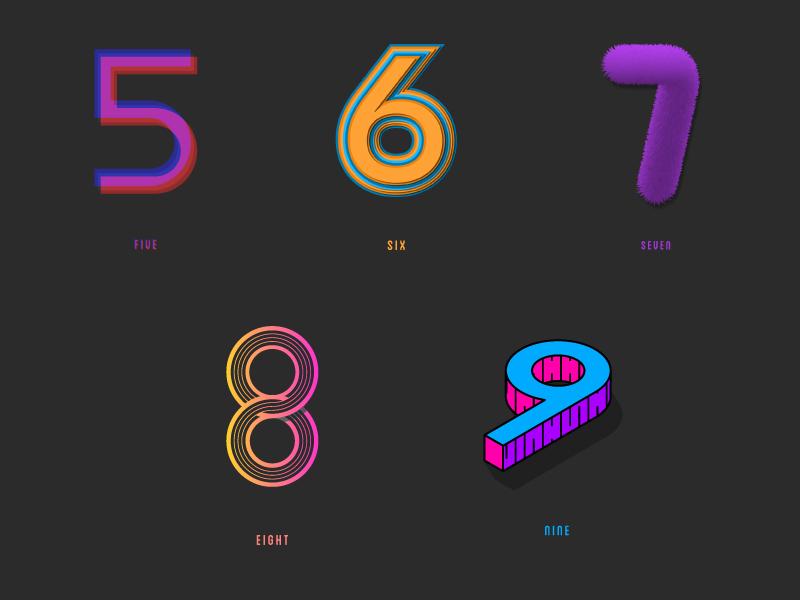Custom Type / 5 - 9 vector graphics photoshop illustrator type design custom type typography type numbers