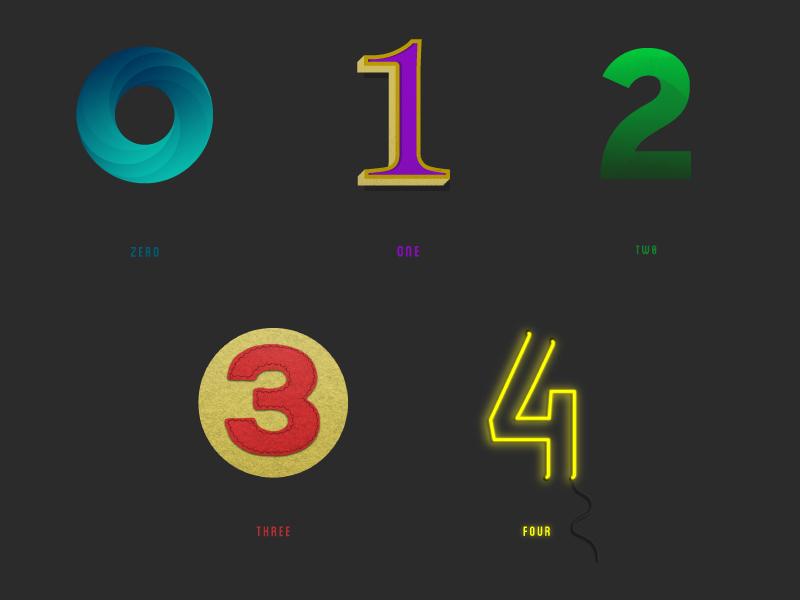 Custom Type / 0 - 4 photoshop vector graphics illustrator type design custom type numbers typography