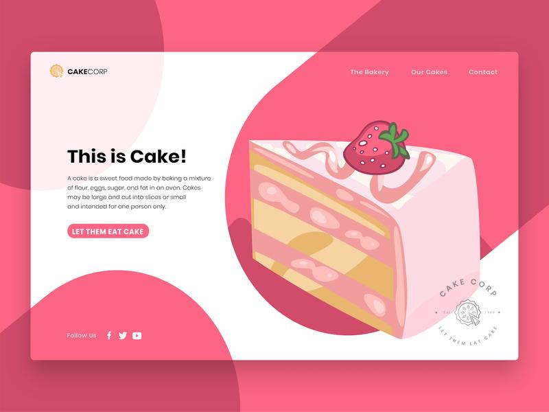 Let them eat Cake website concept website design cake shop homepage home landingpage webdesign bakery logo pink icons logo vector graphicdesign