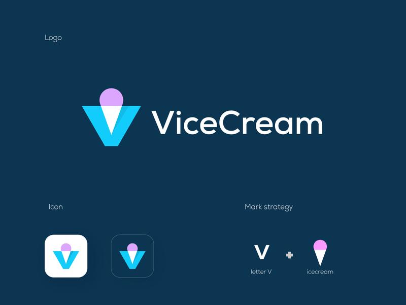 ViceCream gelato letter v lettermark letterforms v logo monogram logomarks logo design logodesign app logo ice cream shop ice cream ice cream logo