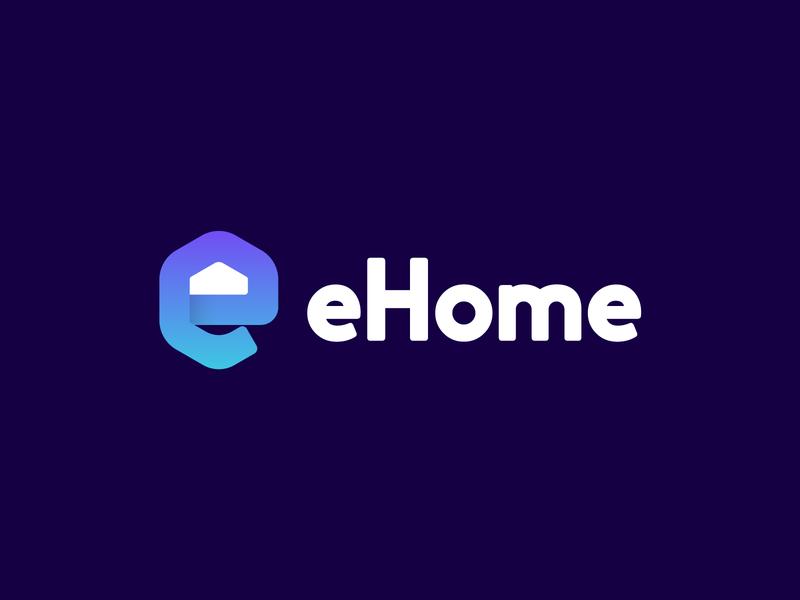 eHome mark logodesign symbol logomarks lettermark logo branding monogram home home logo rentals ehome e logo