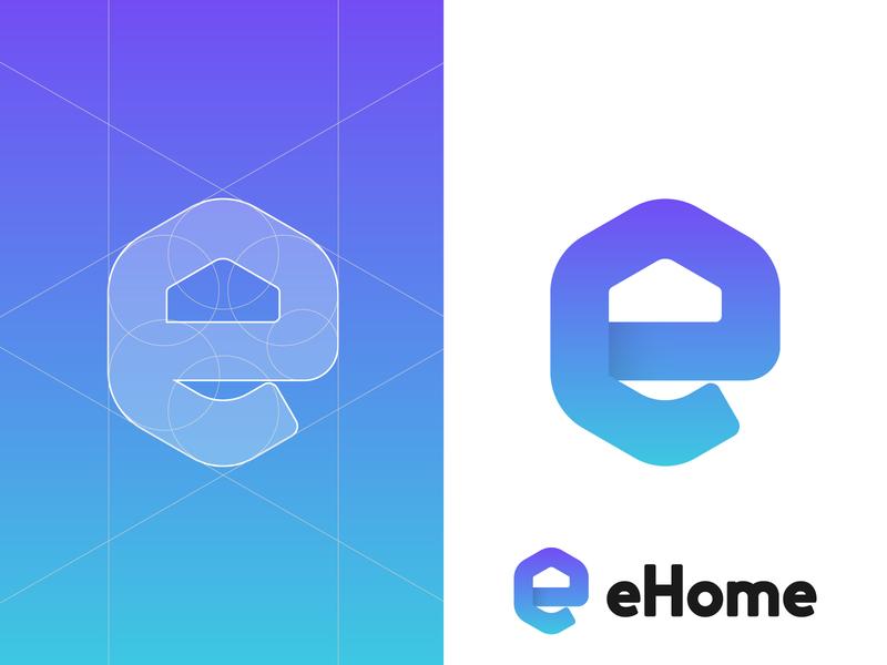 ehome Grid letterforms branding home home logo monogram logomarks logo grids logo design e letter e letter logo e home e logo