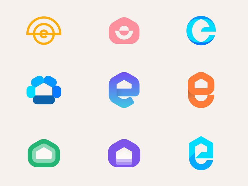 eHome exploration logolounge gradient logo abstract logo overlay home logo ehome lettermark monogram logomarks logos branding logo design e letter logo e logos e logo