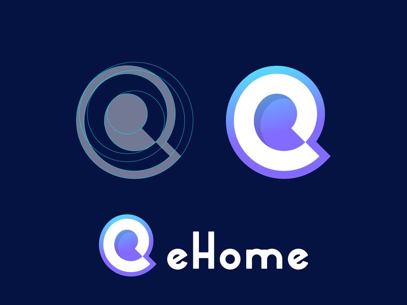 ehome logos abstract logo negative space branding letterforms logo grid monogram logomarks logo design gradient logo e letter logo e letter e logo e home