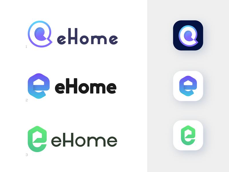ehome concepts negative space letterforms lettermark logomarks home logo app logo e letter logo monogram logo design branding e logo