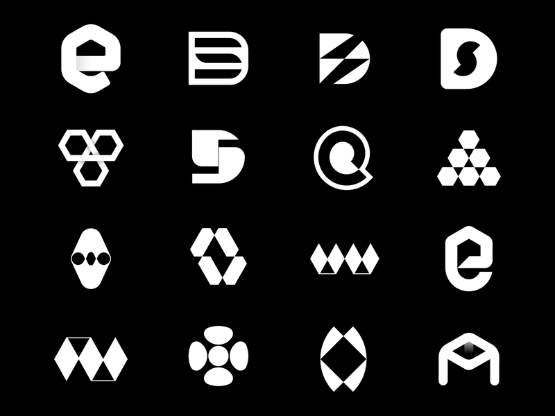 Black and white collection branding app logo negative space abstract logo ds logo d logo logos behance letterforms logo collection black white logofolio logomarks logodesign monogram
