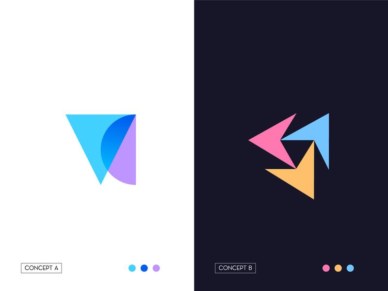 VerifyChief lettering abstract logo symbol negative space letterforms logomarks monogram logo design branding overlay arrow logo v logo vc logo