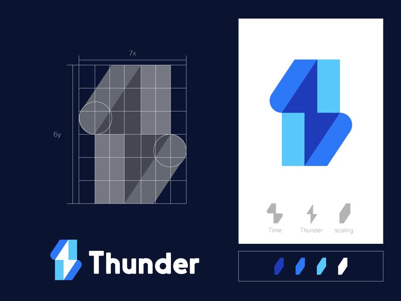 Thunder negative space logo logomarks abstract logo overlay monogram wordmark logo design branding scale energy logo thunder logo time thunder