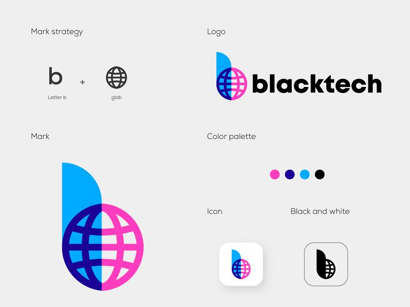 blacktech_ concept 2 logomarks symbol lettermark logos logo design overlay letterforms monogram globe b letter logo branding abstract logo b logo