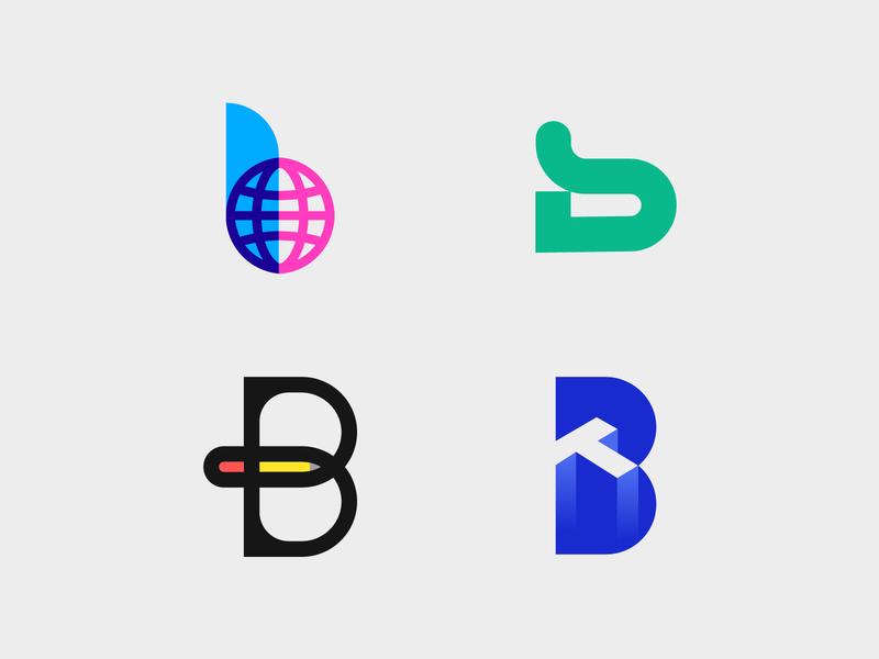 B Logos symbol pen logo overlay negative space monogram logomarks abstract logo logo design letterforms b letter logo lettermark technology branding b logo