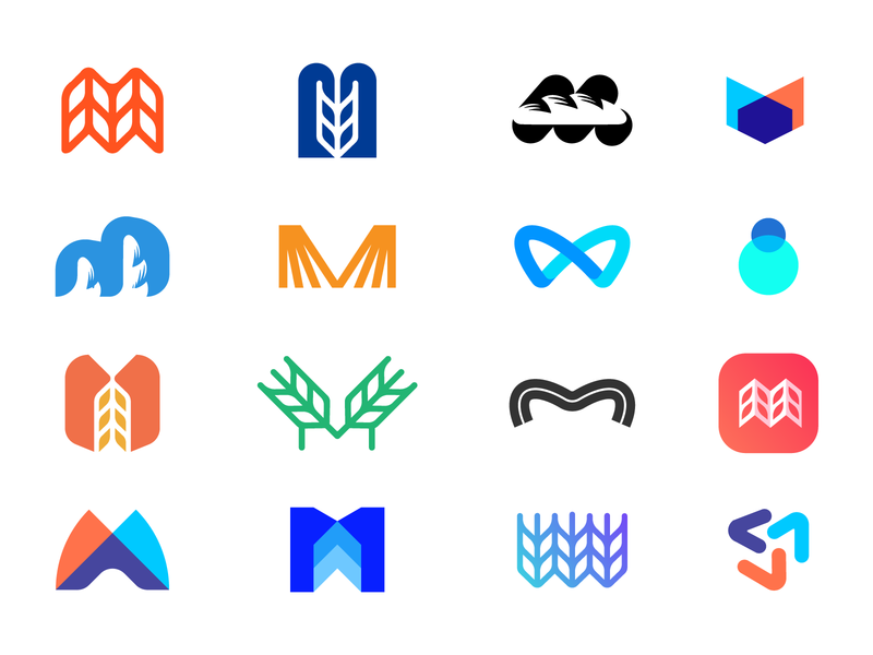 Logos explorations logomarks negative space logos letterforms branding monogram abstract logo app logo logo design m letter m logo letter m m exploration m logo