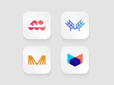 Makbazti bread symbol logomarks bakery logo overlay negative space abstract logo branding app logo design app logo letterforms monogram m logo