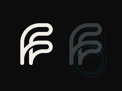Fanfuel Logo grid symbol negative space logomarks lettermark letterforms abstract logo branding monogram f letter logo f letter f logo ff ff logo