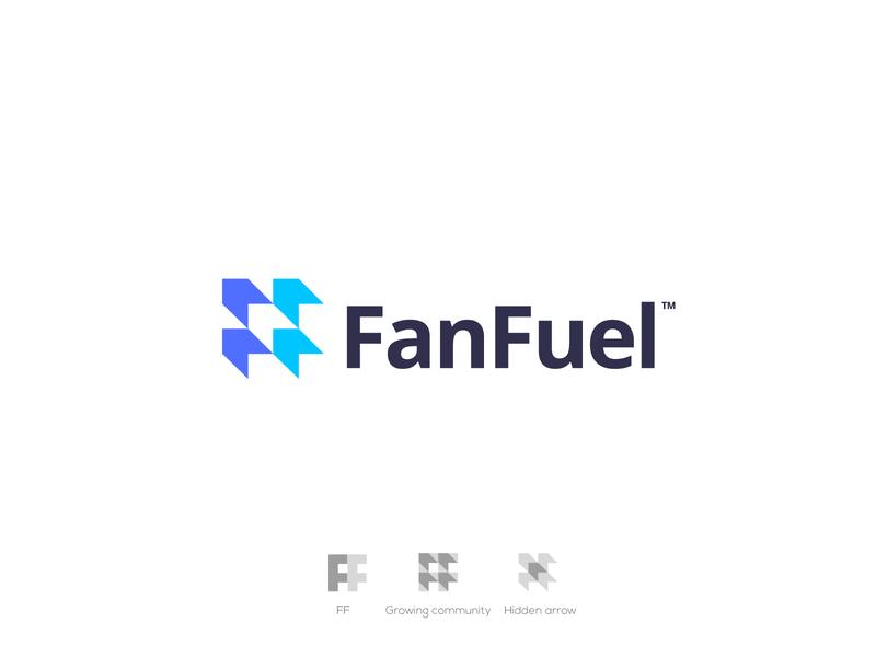 FanFuel hidden arrow arrow logo ff f logo f letter logo negative space logomarks letterforms logo branding monogram