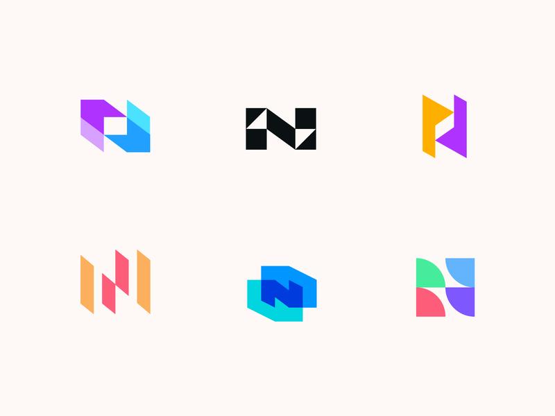 Northrise letterforms lettermark app logo negative space letter university logo simple logo overlay abstract logo letter n logo n logo letter n logomarks monogram branding