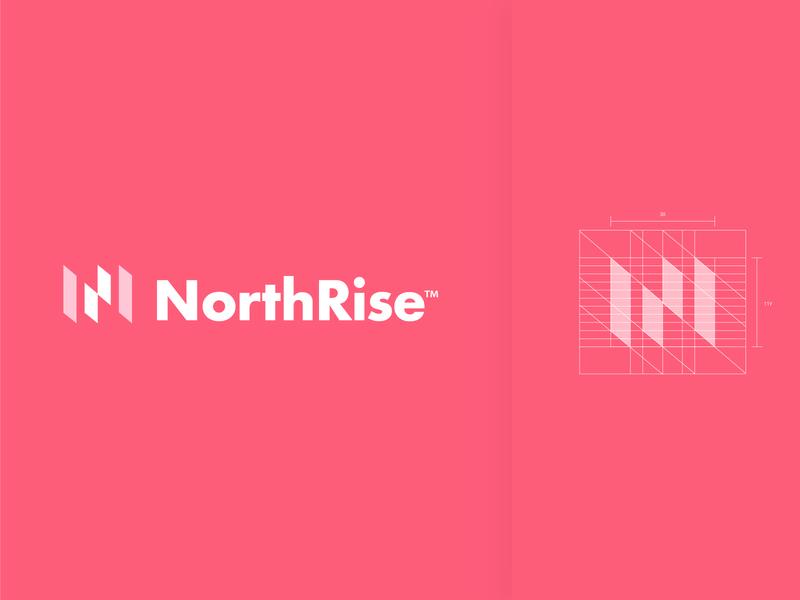 Northrise abstract logo lettermark negative space grid logo grid letterforms logos logomarks monogram branding nr n logo n letter logo