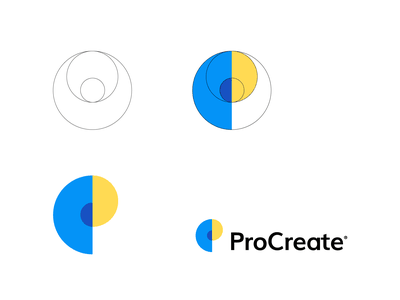 Procreate tech logo app logo logo designer monogram procreate golden ratio minimal logo minimalistic abstract logo overlay professional branding happy logo luxury