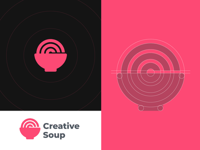 Creative Soup logomarks brand agency minimalist logo logo grids target negative space creative logo c logo luxury brand creative minimal food app food soupe branding construction grid logo logo grid