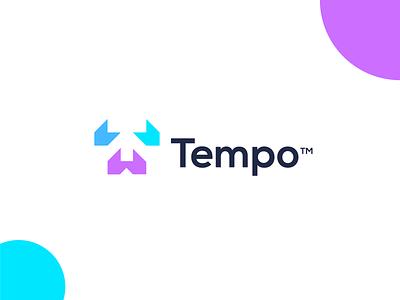 Tempo typography logos tech company technology tech logo simple energy arrows logo tempo startup logo design branding negative space communication connect network t logo