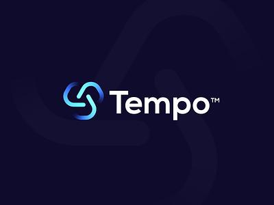 Tempo logo designer tempo luxury brand simple t letter logo typogaphy abstract logo logo community technology tech logo monogram network logo design branding connect t logo