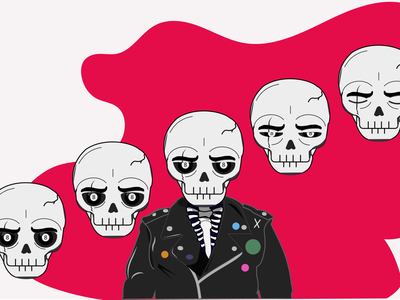 8 Ball illustration skeletons pins illustrator character leather jacket skull 8ball