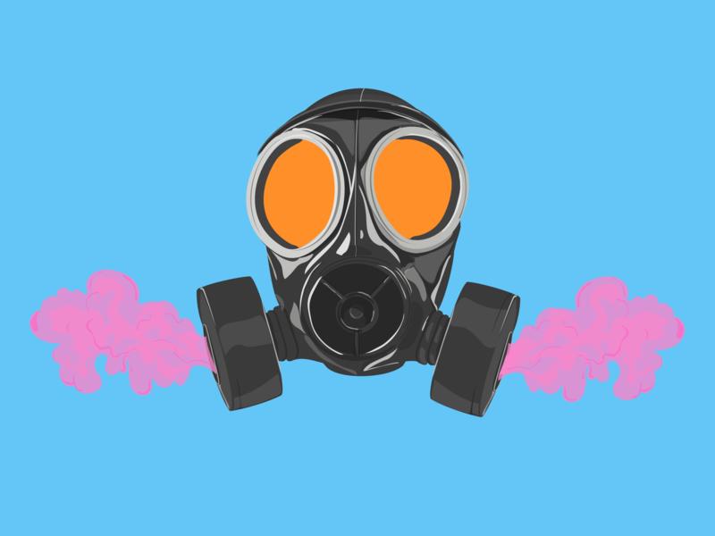 Deep Breaths pink smoke gas mask cintiq adobe illustrator illustration