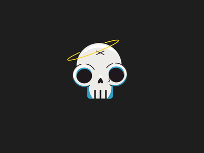 lil dude shadow illustration cartoon x nose crack blue halo eyes skull skeleton