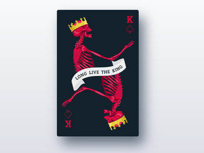 long live the king gold shading dark play royalty bones crown ribbon spade card king red skull skeleton illustration weeklywarmup
