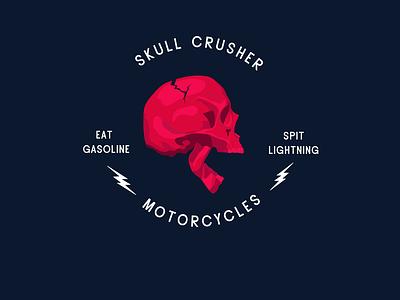skull crusher red badge logo branding design branding illustration lightning gasoline crack skull