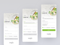 Vegly sign up UI