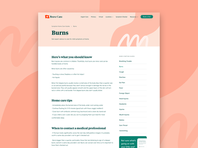 Symptom Home Care Guides guide web design carousel branding medical healthcare pattern layout ui web brand typography type