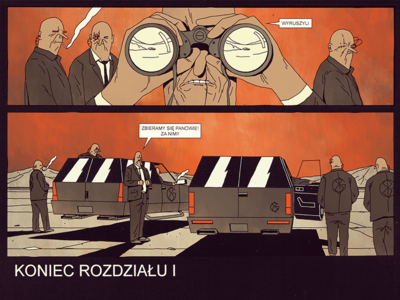 FOLLOW THEM people sky red illustration member suit gang desert suv future futurodarko comic