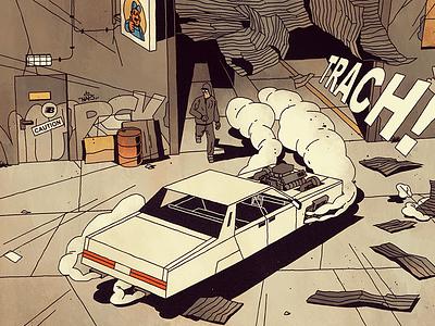 FUTURO DARKO: Page 26 car future dark futurodarko mom villain atomic city explosion action illustration comic
