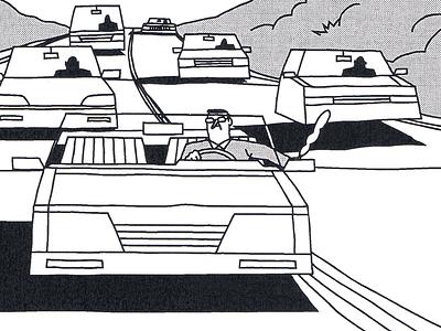 Traffic travel hour rush traffic drive man road highway scene frame comic illustration