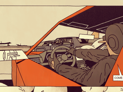 Pursuit rocket desert driver comic frame speed chase highway road car future illustration